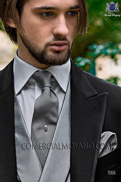 Houndstooth silk tie 10102-2899-7100 Ottavio Nuccio Gala.