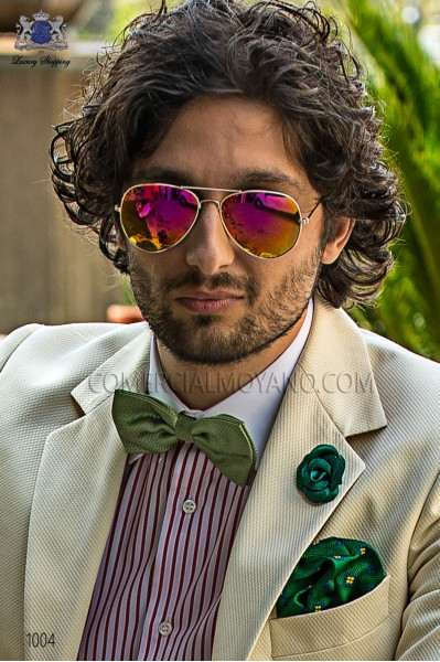 Green jacquard silk handkerchief 15018-9000-4093 Ottavio Nuccio Gala.