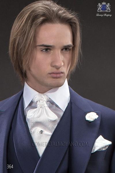 White ascot tie and handkerchief 56579-6157-1000 Ottavio Nuccio Gala.