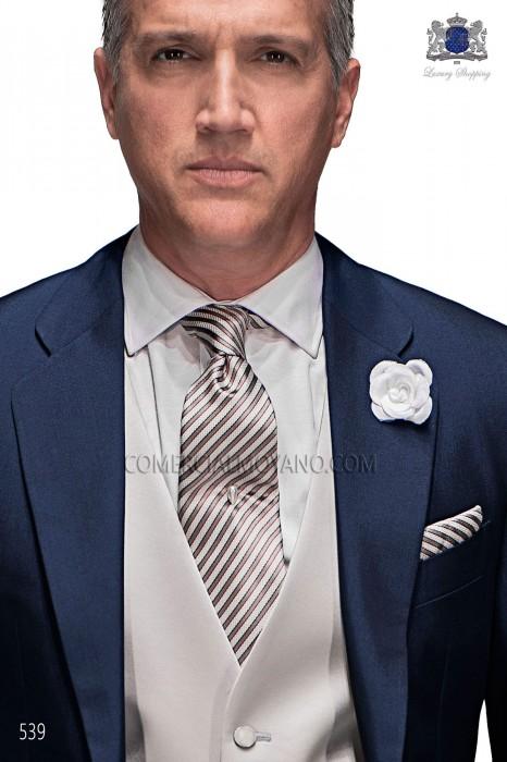 Striped silk tie & handkerchief 56502-2714-1200 Ottavio Nuccio Gala.