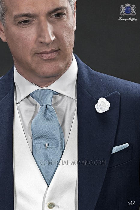 Light blue silk tie & handkerchief 56502-1906-5500 Ottavio Nuccio Gala.