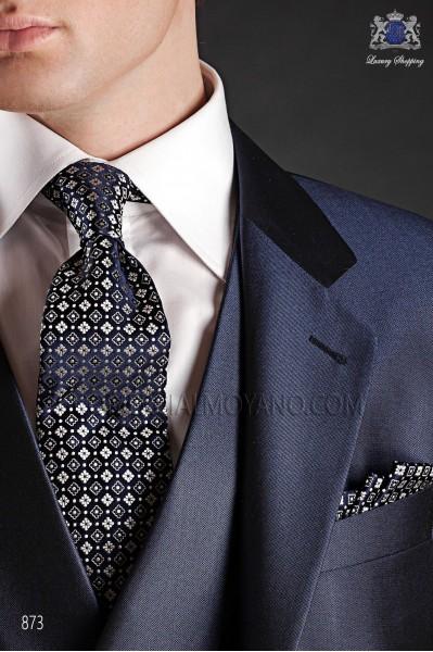 Blue silk tie & handkerchief 56502-2839-5000 Ottavio Nuccio Gala.