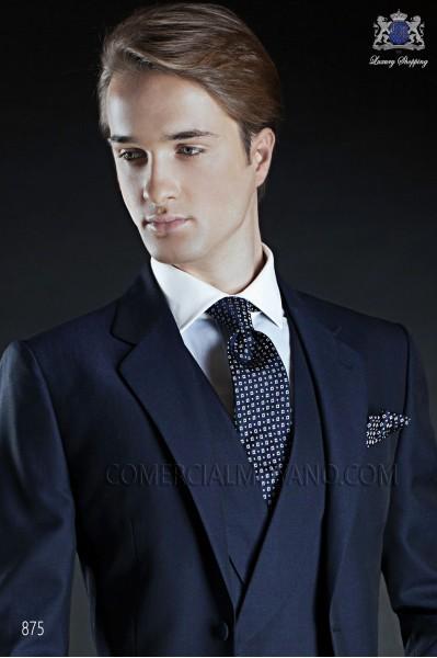 Blue silk tie & handkerchief 56502-2836-5000 Ottavio Nuccio Gala.