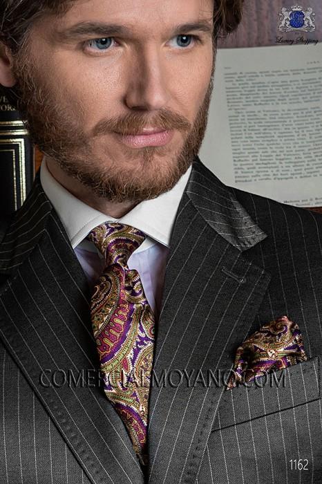 Purple silk tie & handkerchief 56502-2879-3300 Ottavio Nuccio Gala.