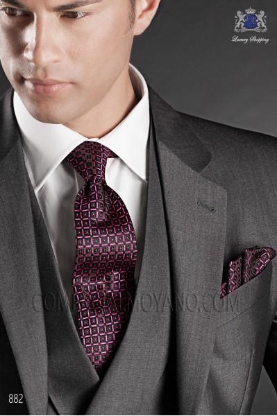 Fuchsia jacquard silk tie and handkerchief 56502-2837-8500 Ottavio Nuccio Gala.