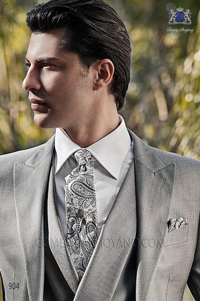 White and black tie with handkerchief 56502-2901-7200 Ottavio Nuccio Gala.