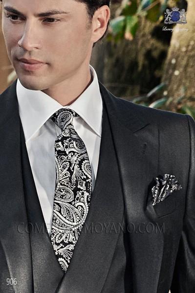 Black cashmere tie and handkerchief 56502-2901-8100 Ottavio Nuccio Gala.