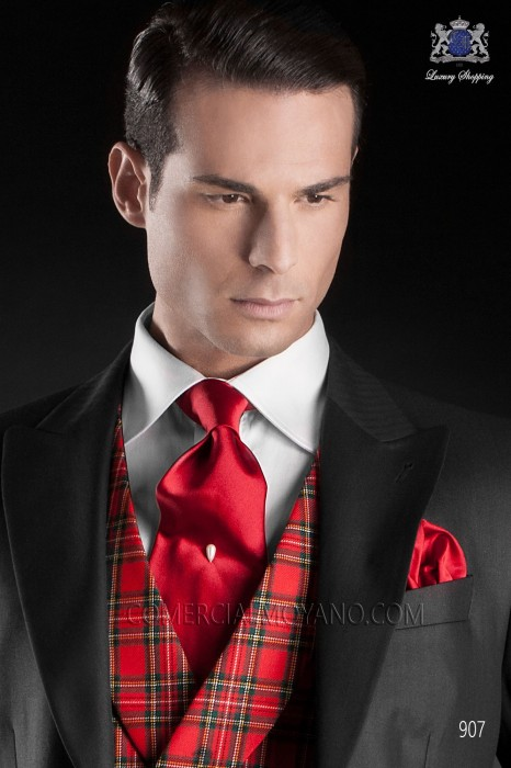 Red satin tie and handkerchief 56503-2640-3200 Ottavio Nuccio Gala.