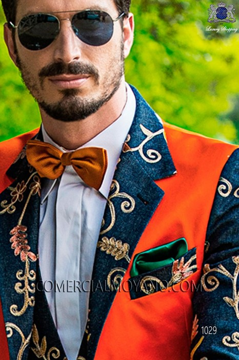 Green satin handkerchief 15018-2640-4000 Ottavio Nuccio Gala.