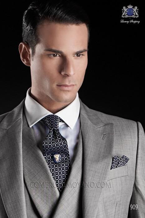 Blue and silver silk tie and handkerchief 56502-2837-5000 Ottavio Nuccio Gala.