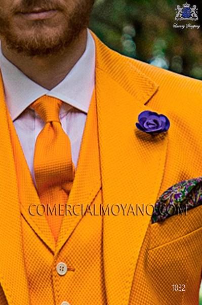 Orange cotton tie 10139-5105-2900 Ottavio Nuccio Gala.