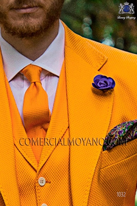 Orange cotton tie 10139-5105-2900 Ottavio Nuccio Gala.