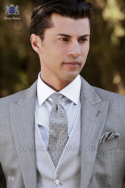 Gray silk tie & handkerchief 56502-2681-7600 Ottavio Nuccio Gala.
