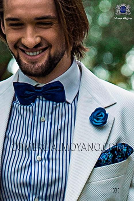 Cobalt blue floral patterned designer silk handkerchief 15018-9000-5077 Ottavio Nuccio Gala.