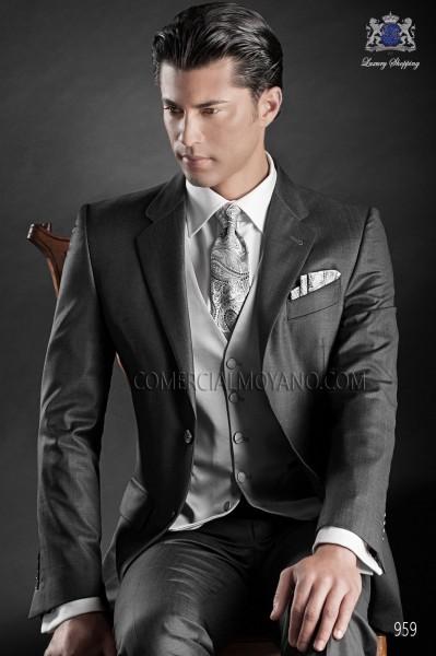 Gray cashmere tie and handkerchief 56502-2901-7400 Ottavio Nuccio Gala.