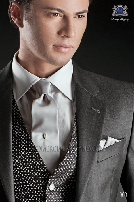 Gray satin tie and handkerchief 56502-2640-7500 Ottavio Nuccio Gala.