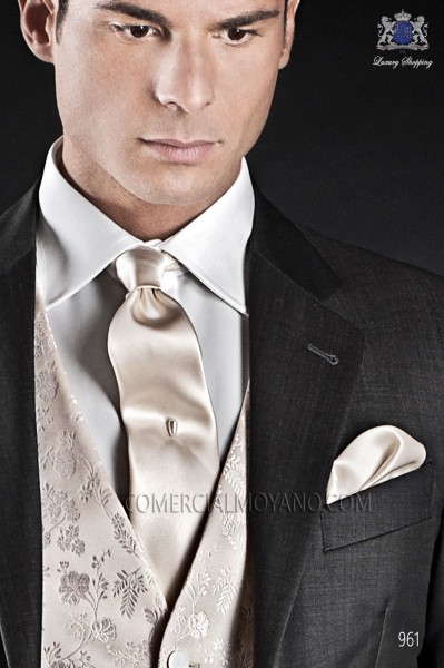 Ecru satin tie and handkerchief 56502-2640-1000 Ottavio Nuccio Gala.