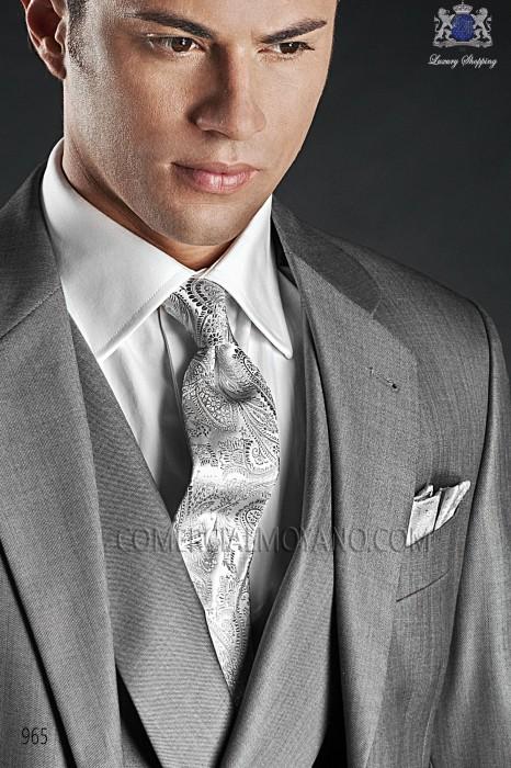 Silver cashmere tie and handkerchief 56502-2901-7300 Ottavio Nuccio Gala.