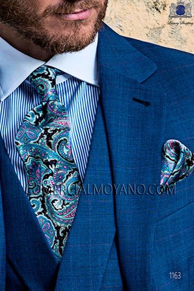 Blue silk tie & handkerchief 56502-2879-5600 Ottavio Nuccio Gala.