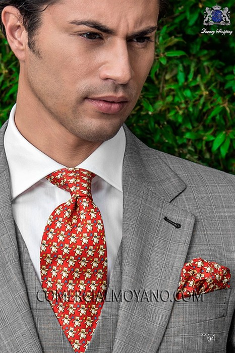 Red silk tie and handkerchief 56503-9000-2999 Ottavio Nuccio Gala.