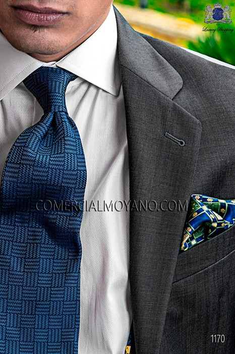 Blue floral patterned silk designer handkerchief 15019-4068-5100 Ottavio Nuccio Gala.