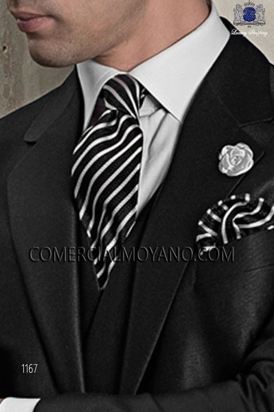 Black and silver silk tie and handkerchief 56502-2845-8100 Ottavio Nuccio Gala.