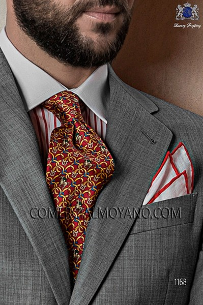 Red jacquard silk tie 10103-9000-3099 Ottavio Nuccio Gala.