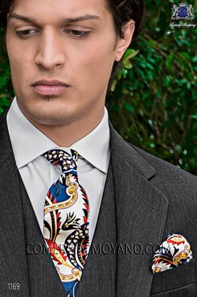Blue floral stamped silk tie & handkerchief 56502-2861-5000 Ottavio Nuccio Gala.