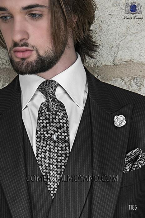 Black and silver tie and handkerchief 56502-2838-8000 Ottavio Nuccio Gala.