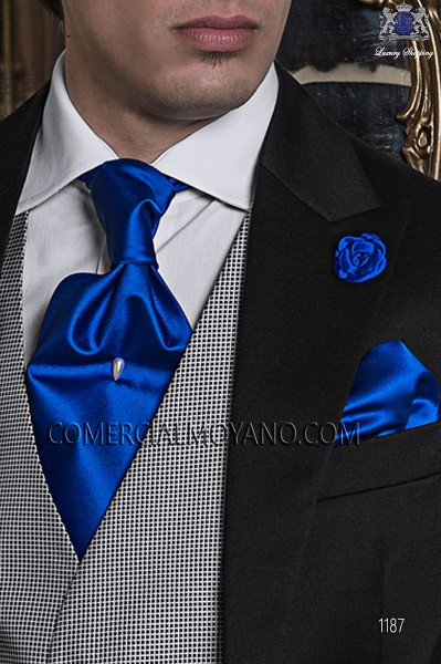 Blue satin ascot tie and handkerchief 56579-2640-5300 Ottavio Nuccio Gala.