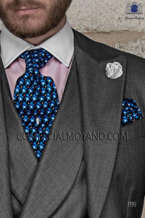 Azul silk tie and handkerchief 56503-9000-5095 Ottavio Nuccio Gala.