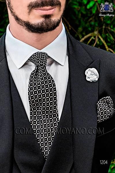 Black jacquard silk tie and handkerchief 56502-2837-8000 Ottavio Nuccio Gala.