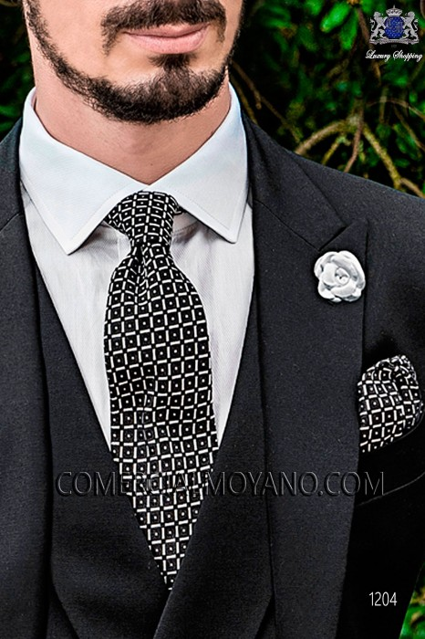 Black jacquard silk tie and handkerchief 56502-2837-8000 Ottavio Nuccio Gala.