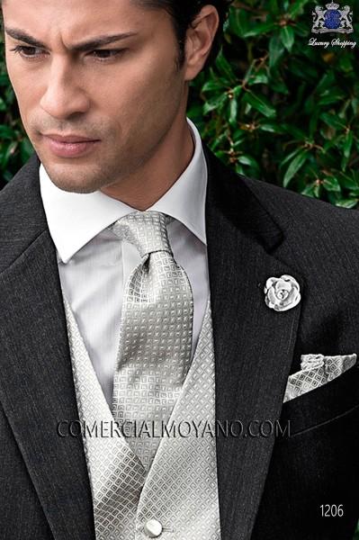 Pearl gray tie and handkerchief 56502-2838-7300 Ottavio Nuccio Gala.