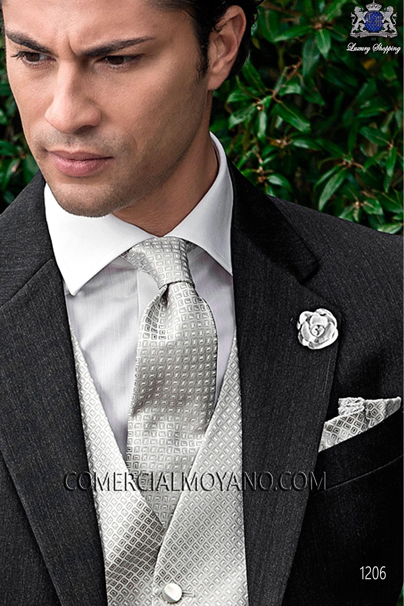 la mejor calidad para profesional código promocional Corbata y pañuelo gris perla