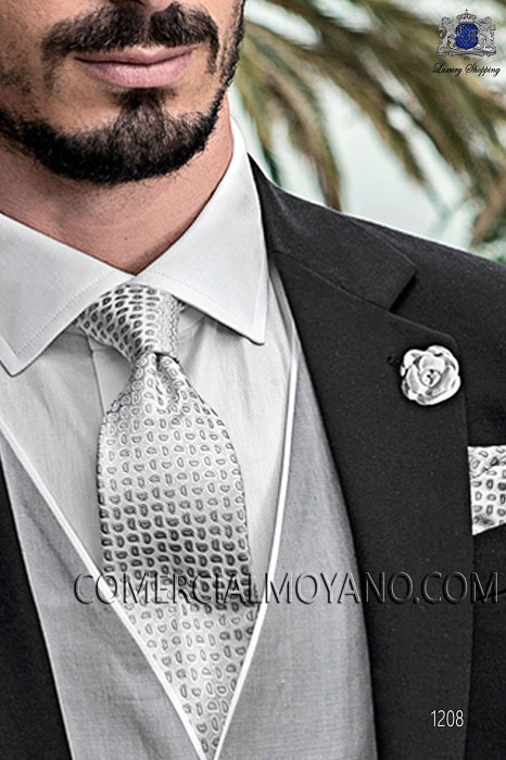 Pearl gray tie and handkerchief 56502-2886-7300 Ottavio Nuccio Gala.