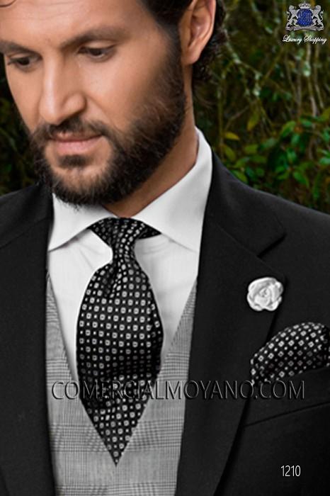 Black silk tie & handkerchief 56502-2836-8000 Ottavio Nuccio Gala.