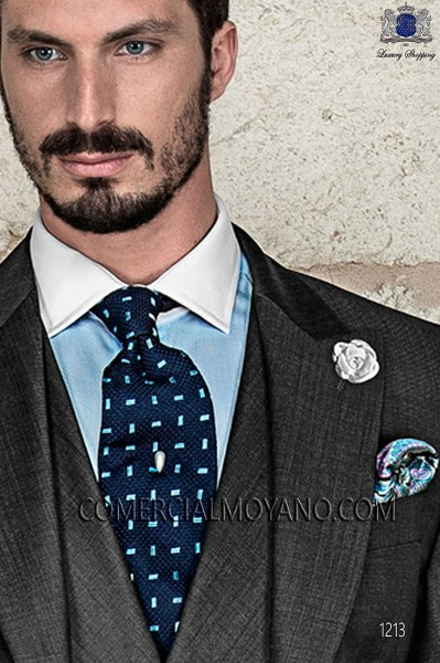 Blue tie with design 10103-9000-5099 Ottavio Nuccio Gala.