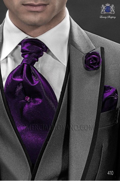 Purple ascot tie and handkerchief 56577-2645-3300 Ottavio Nuccio Gala.