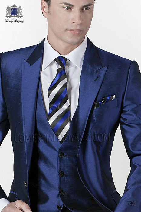 Blue-black striped tie and handkerchief set 56502-2877-8600 Ottavio Nuccio Gala.