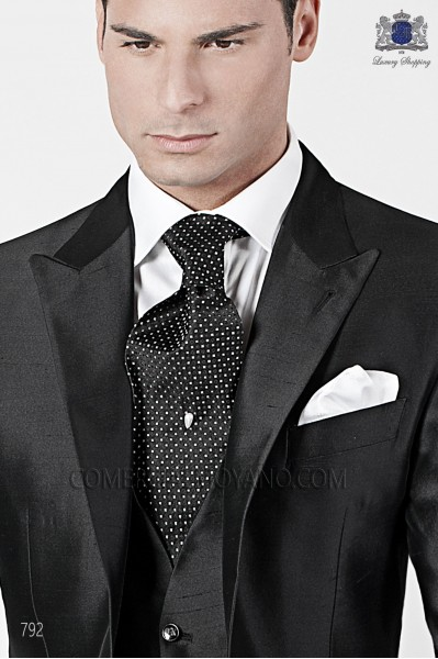 Black and white polka dot tie 10179-1445-8000 Ottavio Nuccio Gala.