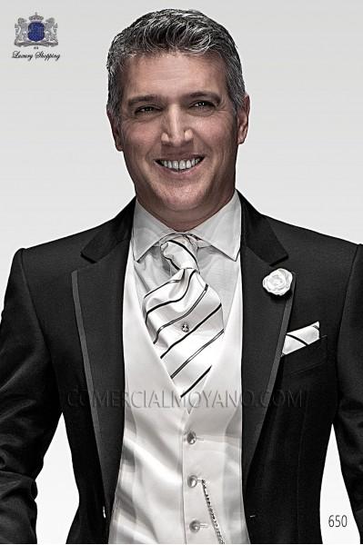 White striped silk wide tie and handkerchief set 56579-2703-1000 Ottavio Nuccio Gala.