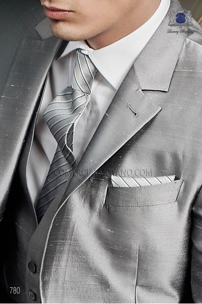 Gray striped tie and handkerchief set 56502-2679-7100 Ottavio Nuccio Gala.