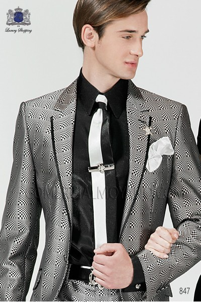 Black and pearl gray lurex tie and handkerchief 56521-2645-8073 Ottavio Nuccio Gala.