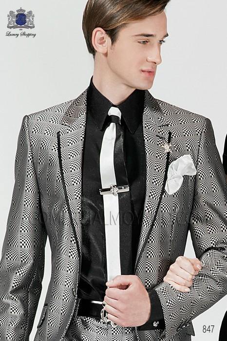 Black and pearl gray lurex tie and handkerchief 56521-2645-8073 Ottavio Nuccio Gala.