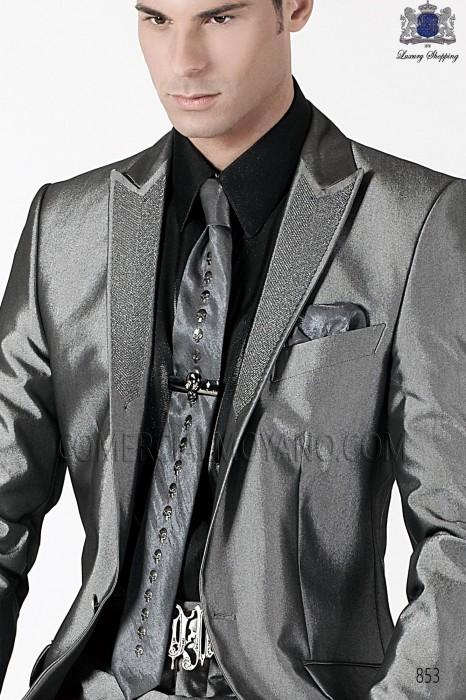 Gray lurex tie and handkerchief set 56598-2645-7080 Ottavio Nuccio Gala.