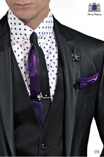 Black and purple lurex tie and handkerchief 56521-2645-8033 Ottavio Nuccio Gala.