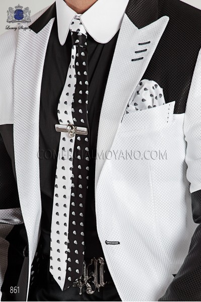 Black and white silk skull tie and handkerchief 56521-4140-8010 Ottavio Nuccio Gala.