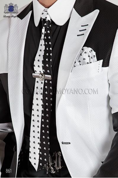 Black and white silk skull tie and handkerchief 56521-4140-8010 Ottavio Nuccio Gala.