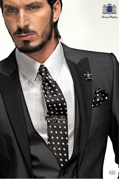 Black-white skull tie and handkerchief 56506-4140-8000 Ottavio Nuccio Gala.